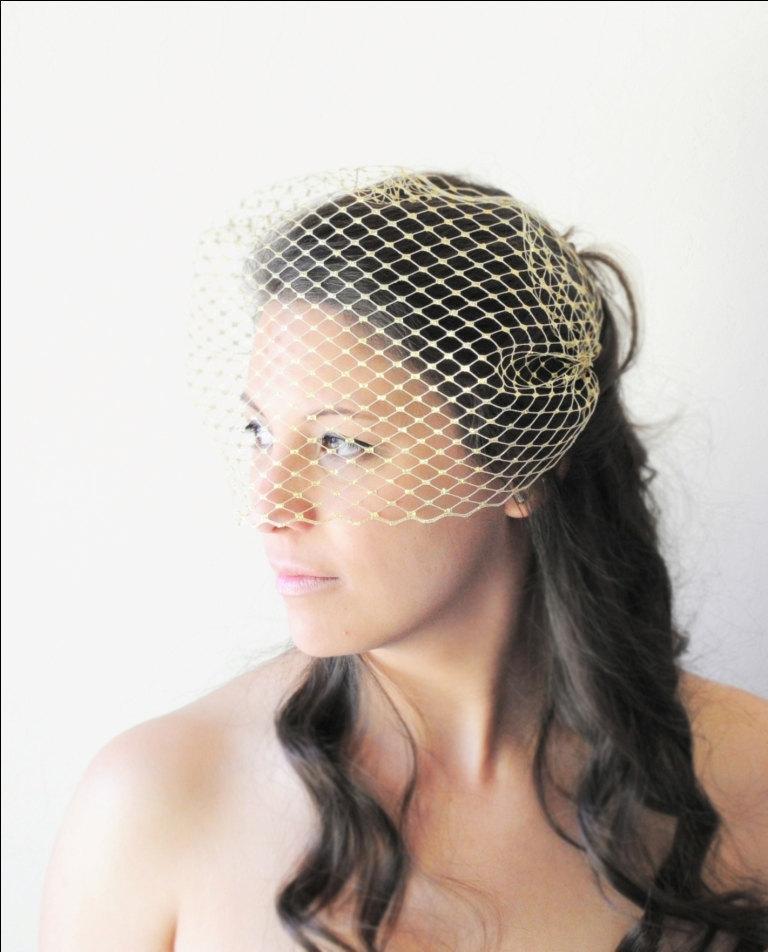 زفاف - Gold Veil, Gold Birdcage Veil, Gold Bandeau Veil, Silver Veil, Wedding Veil, Bridal Veil, Bride's Veil, Silver Bandeau Veil, Metallic Gold