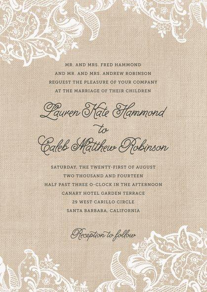 Mariage - Burlap & Lace wedding invitations