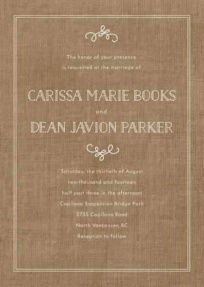 زفاف - Vintage Burlap wedding invitations