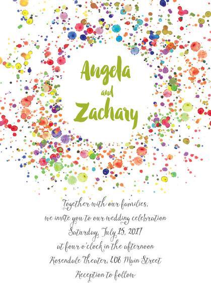 Wedding - Watercolor Droplets wedding invitations