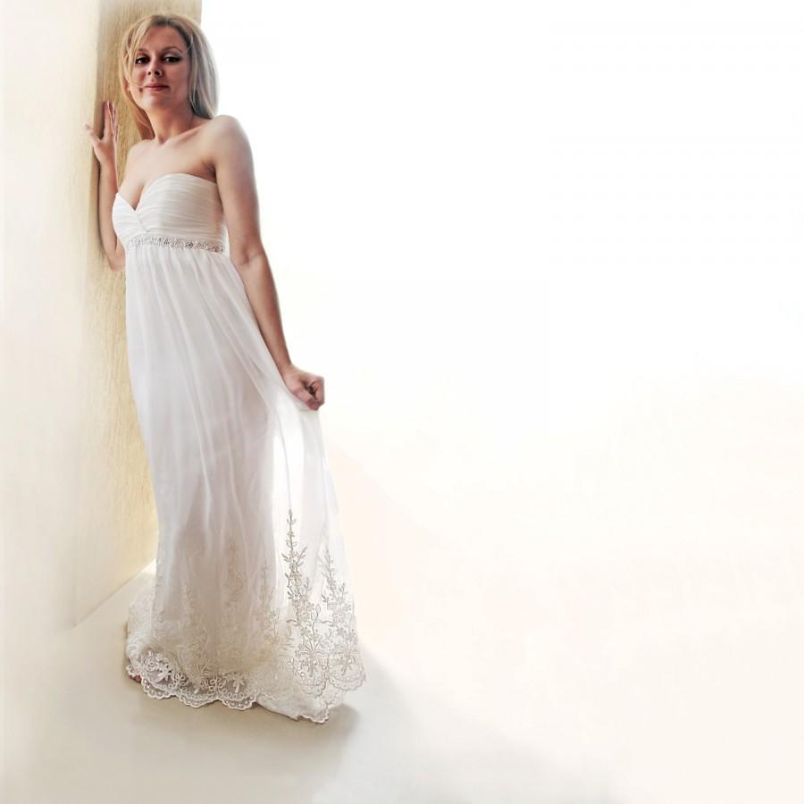 Silk Chiffon Wedding Gown Empire Waist Wedding Dress Beach Wedding
