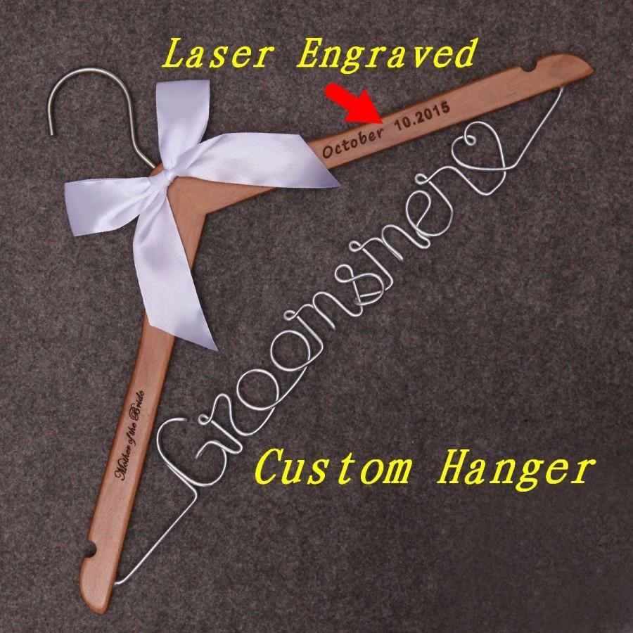 زفاف - Wedding Dress Hanger, groomsmen gift, groomsmen,groom gift, Personalized Bridal Hanger, Custom Wire Name Hanger,Bridal Gift- Gifts for Women