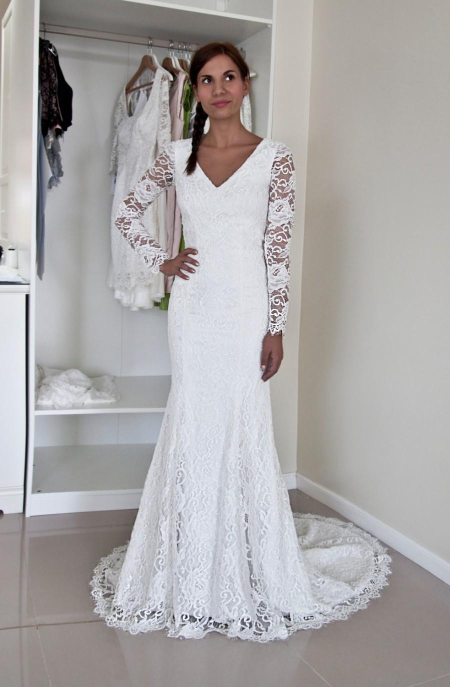 زفاف - French Lace Wedding Gown with V Neckline, Buttoned Back and Long Sleeves