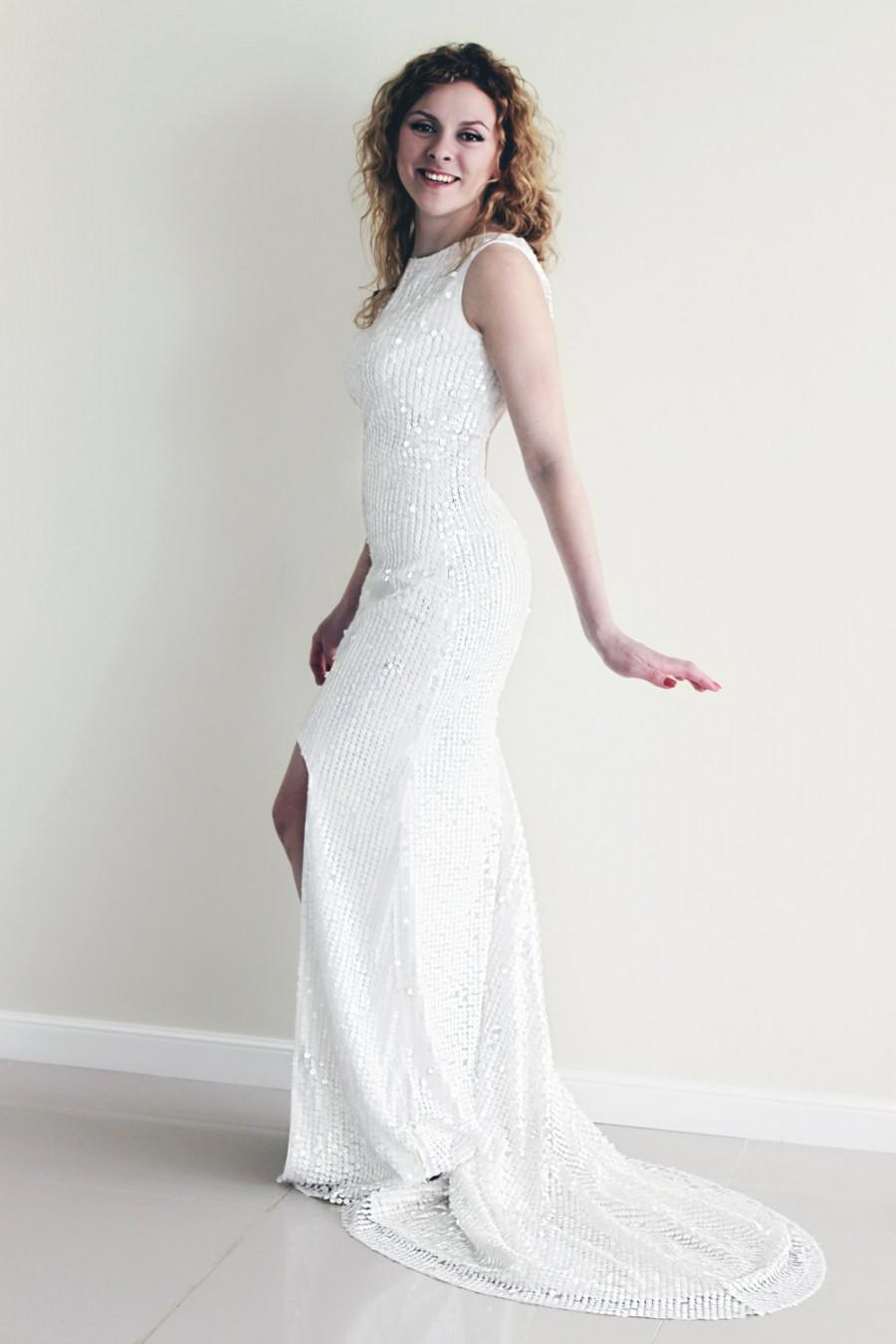 Sequin wedding dress white sequin dress high low hem for White sparkly wedding dress