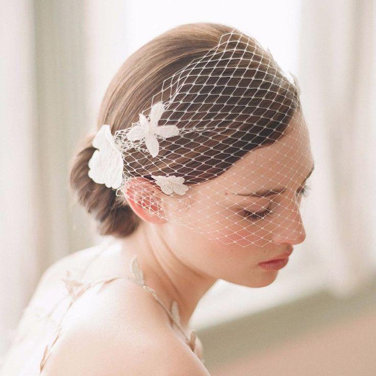 Mariage - White Tulle Bird Cage Wedding Veil