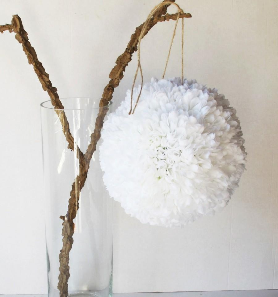 White Silk Flowers Ball Chrysanthemums Wedding Decoration 10 Balls