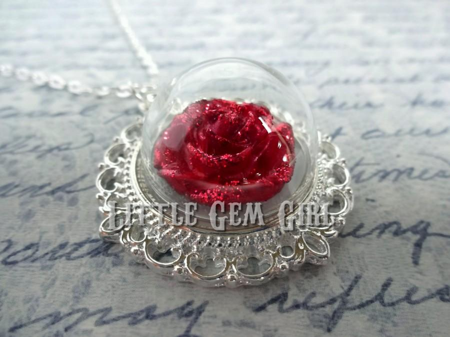 Mariage - Enchanted Red Rose Necklace - Beauty and the Beast Rose Jewelry Silver Wedding Bridal Fairy Tale Jewelry - Once Upon a Time Glass Jewelry