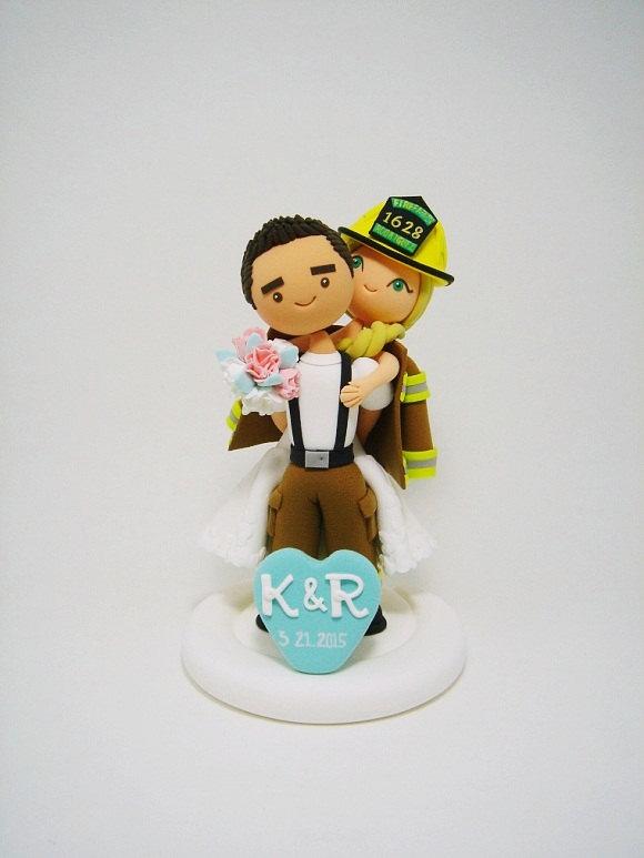 Свадьба - Firefighter custom wedding cake topper