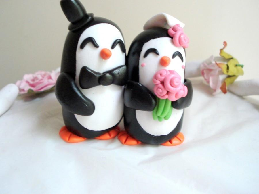 Penguin Wedding Cake Topper Penguin Cake Topper Wedding Cake Black ...