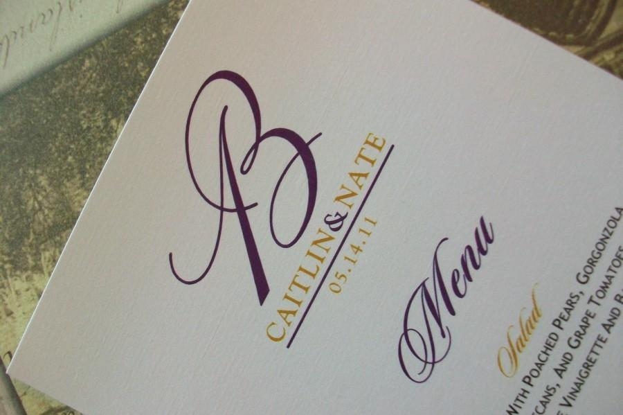 Свадьба - Wedding Menu Card - Custom Monogram in your choice of colors - Shimmer Cardstock