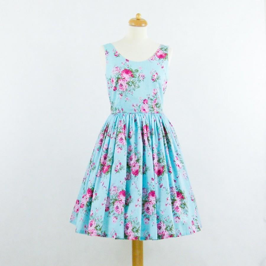 Свадьба - Custom made bridesmaid dress, cotton bridesmaid dress, floral dress, vintage inspired dress
