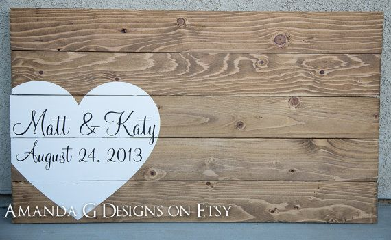 Wedding - Wedding Guest Book Hand Painted Wood Sign, Wedding Guest Book Alternative With Wrap Around Heart. Guestbook