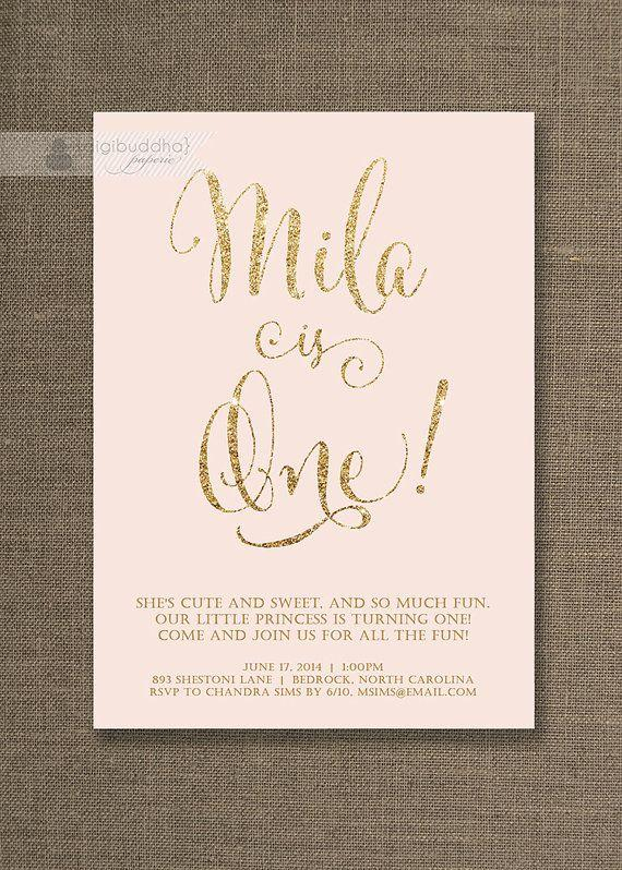 Blush Pink Gold Birthday Invitation Girl Glitter Pastel Script Modern First 1st FREE PRIORITY SHIPPING Or DiY Printable