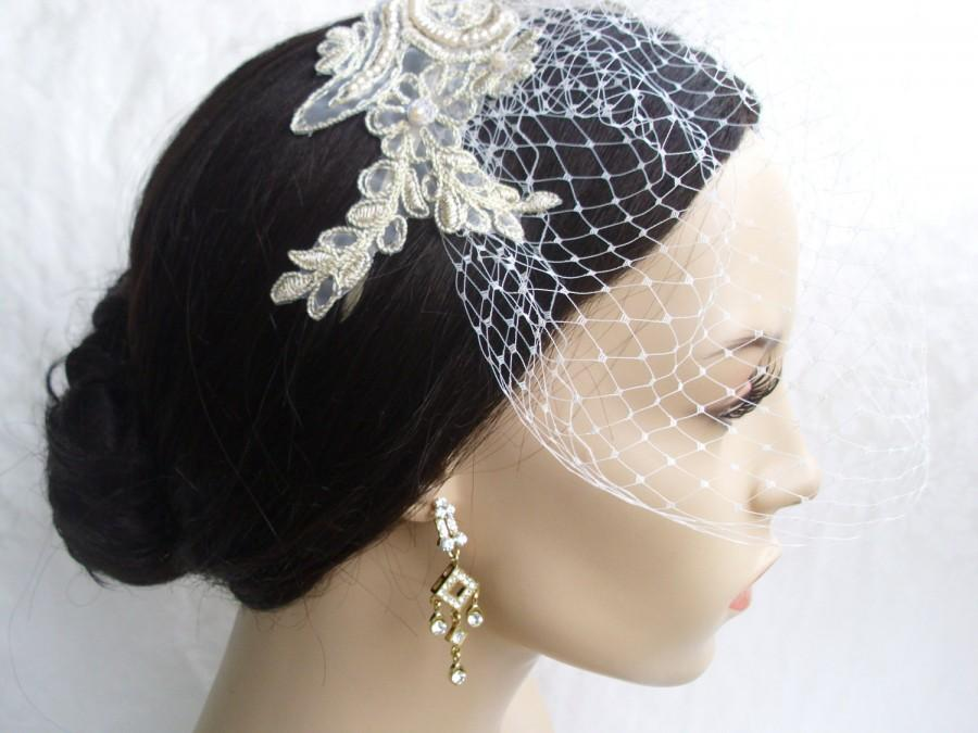 Mariage - Lace Birdcage Veil / Vintage Inspired Veil. Eloise