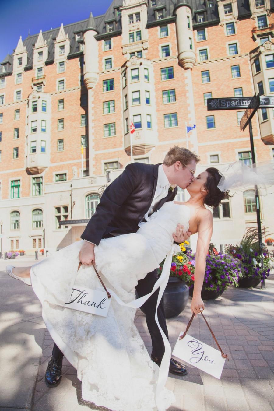 Свадьба - Two 2 Wood Wedding Thank You Signs