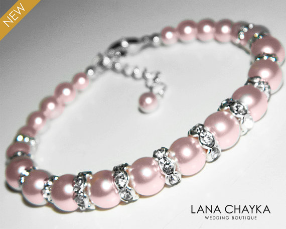 Pink Pearl Bracelet Wedding Blush Pink Pearl Silver Bracelet Swarovski  Rosaline Pearl Bridal Bracelet Bridal Jewelry Wedding Jewelry 1dbe7d429e76
