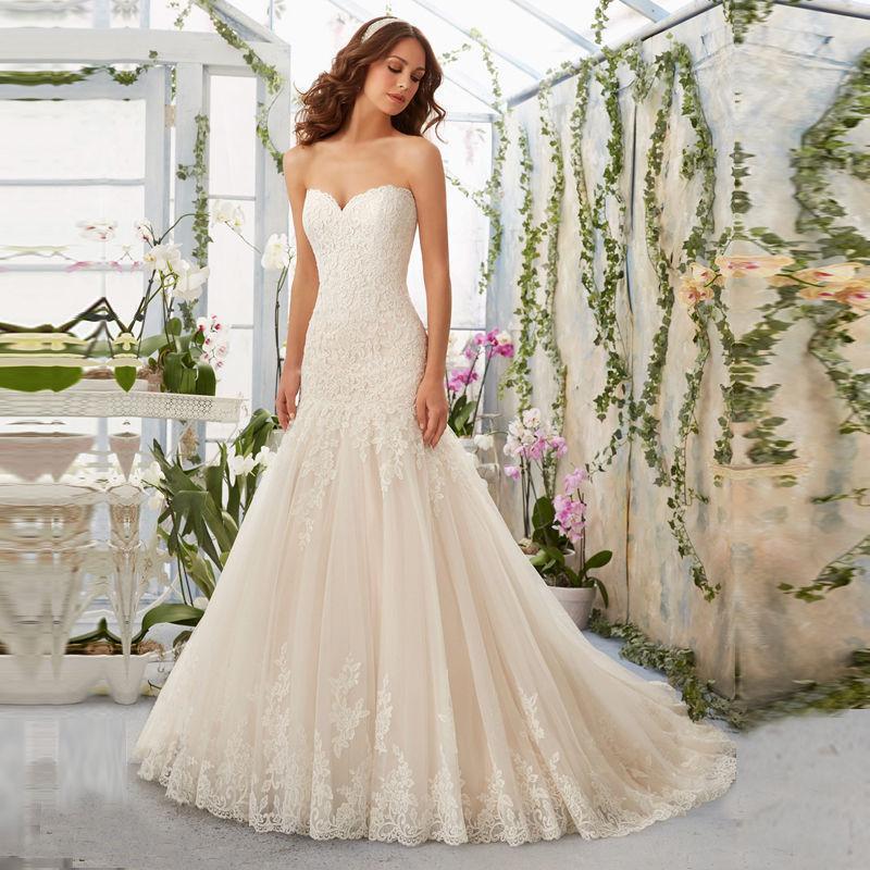White/Ivory Lace Mermaid Bridal Gown Wedding