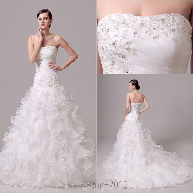 New mermaid white ivory wedding dress bridal gown custom for Custom mermaid wedding dress