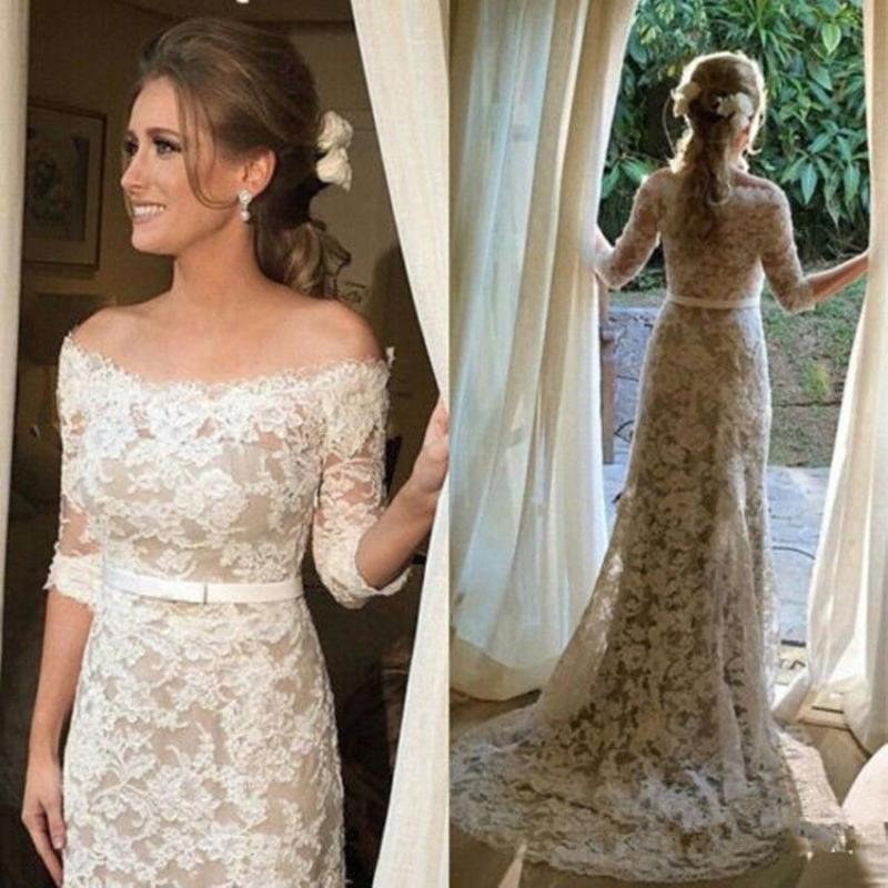 Ivory Wedding Bridal 34 Sleeve Off Shouder Lace Long Formal Gown