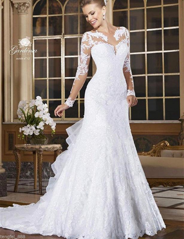 Wedding - White/Ivory Wedding Dress Bridal Gown Custom Size 4 6 8 10 12 14 16 18 20