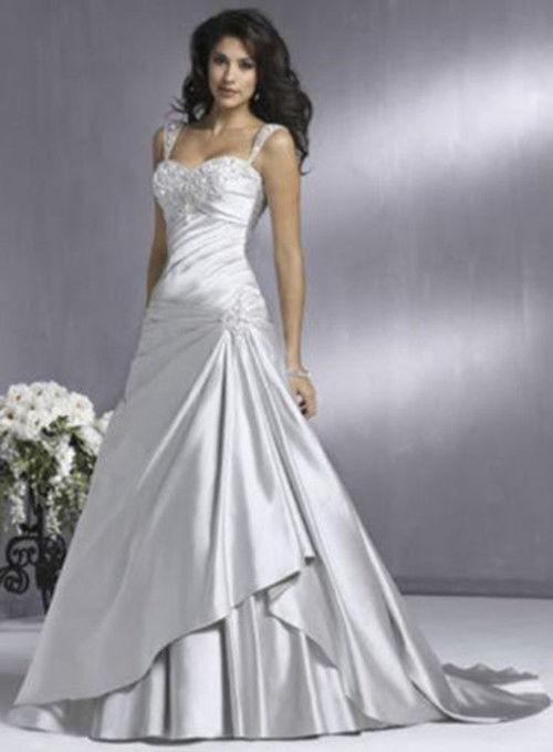 Sexy New White Silver Wedding Dress Custom Size Colour