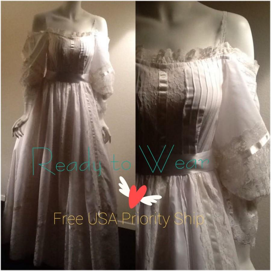 50 off vtg white wedding dress white bridal gown for Simple cotton wedding dress