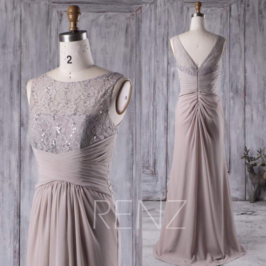 Newdeve Chiffon Hi-Lo Gray Mother of The Bride Dresses Multi-Layer Pleats