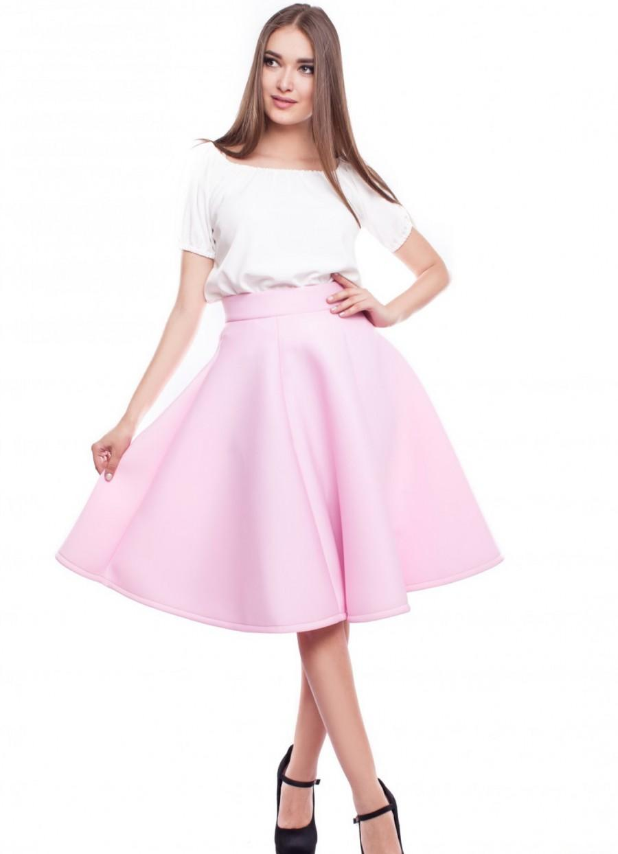 soft pink skirt knee length flared skirt formal prom light