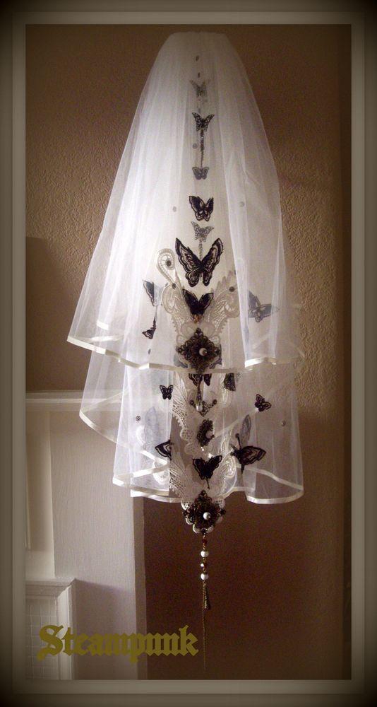 Wedding - Steampunk Bronzed Butterfly Garden 2 Tier Elbow Length Ivory Wedding Veil