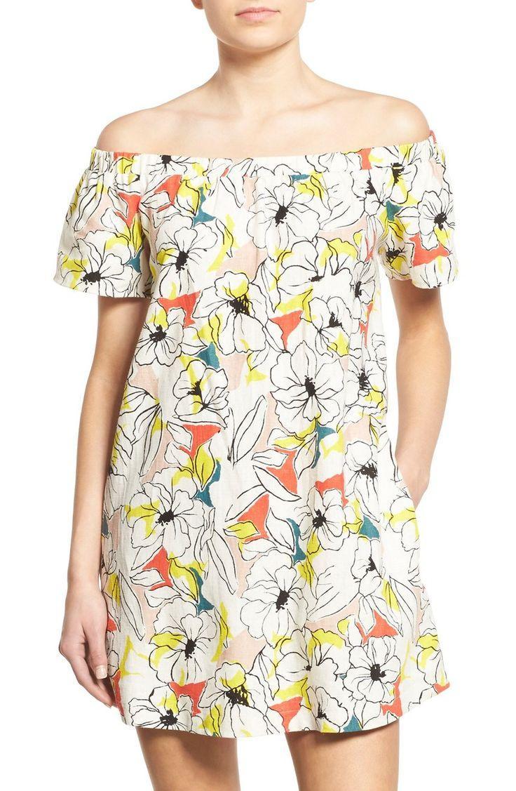Hochzeit - ASTR 'Valencia' Off the Shoulder Cotton & Linen Shift Dress