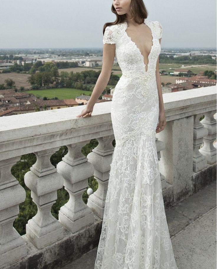 Свадьба - Berta Plunging V-Neck Cap Sleeve Mermaid Dress (In Stores Only)