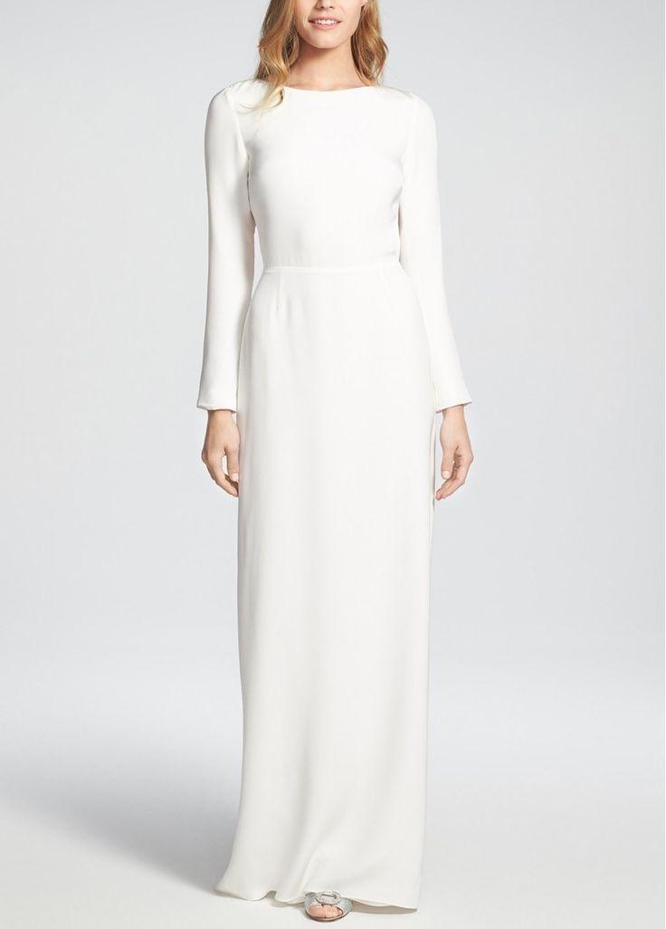 Свадьба - Houghton 'Cheyne' Open Back Long Sleeve Silk Column Gown