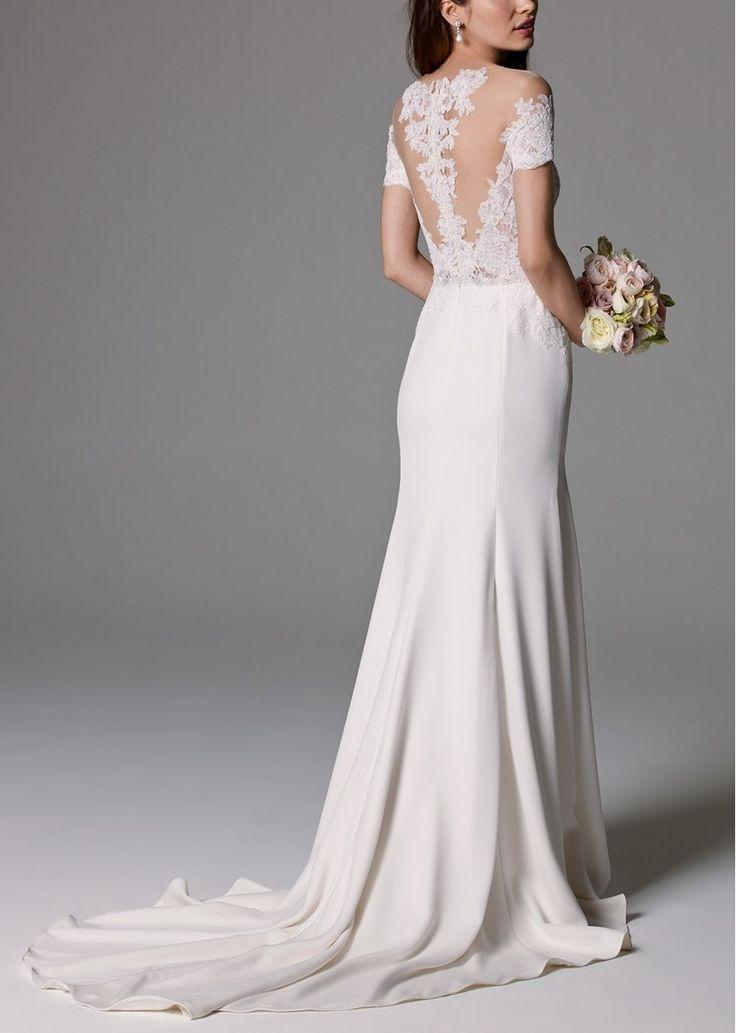 Свадьба - Watters 'Seaton' Illusion Off-the-Shoulder Lace & Georgette Trumpet Gown (In Stores Only)