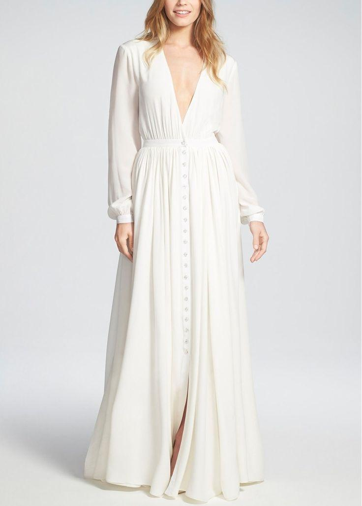 Свадьба - Houghton 'Galina' Plunging V-Neck Silk Dress with Crystal Buttons