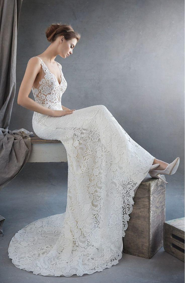 Свадьба - Lazaro V-Neck Lace Trumpet Dress (In Stores Only)