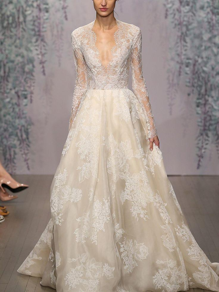 Свадьба - Monique Lhuillier 'Winslet' Plunging V-Neck Organza & Lace Ballgown Dress (In Stores Only)