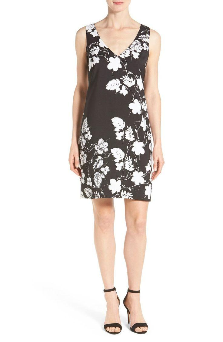Свадьба - Vince Camuto Floral Print V-Neck Shift Dress (Regular & Petite)