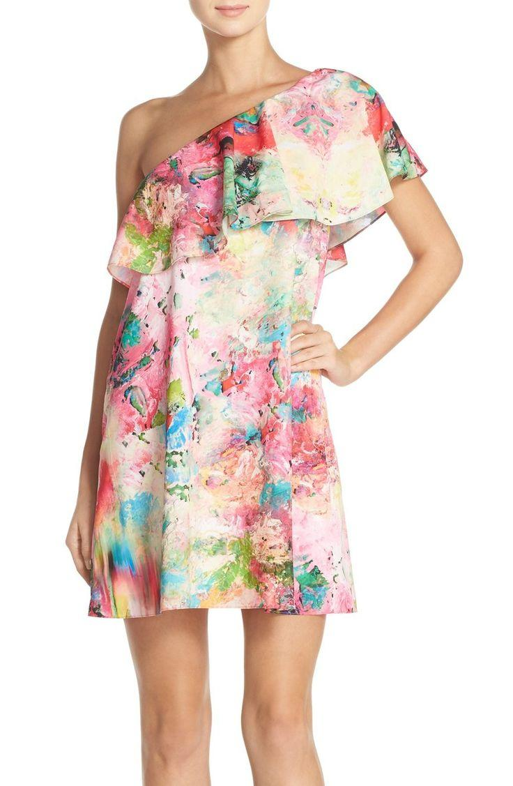 Свадьба - A by Amanda 'Zoe' Floral Print One Shoulder Dress