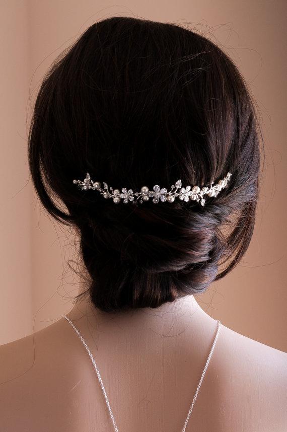 Hochzeit - Wedding Hair Chain Bridal Hair Chain Swarovski Pearls Crystal Hair Wrap Headpiece Silver/Rose Gold Wedding Halo Crystal Hair Comb Comb Vine