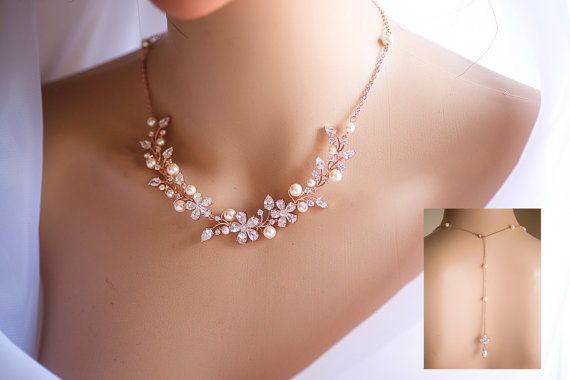 Hochzeit - Rose Gold/Silver Back Drop Backdrop Wedding Necklace Swarovski Pearl w/ Sparky CZ crystal Bridal Necklace