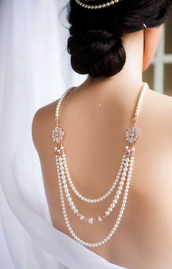 3 Strands Bridal Backdrop Necklace Crystal And Swarovski Pearl
