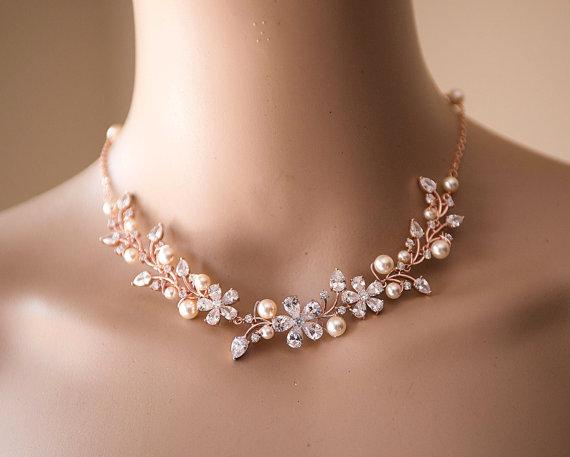 Wedding - Vintage Style statement Wedding Necklace, Swarovski pearls and CZ crystals Pendant Necklace,Crystal Zirconia Drop Necklace.