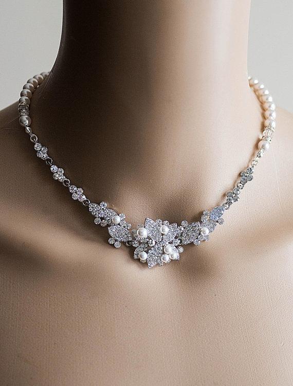 Mariage - Vintage Style statement Wedding Necklace,Swarovski Pearl Crystal Flower Pendant Necklace,Zirconia Crystal Drop Necklace. Grace_073