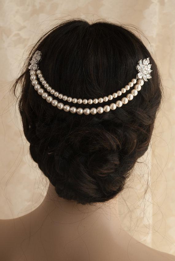 Mariage - Statement Wedding head band 2 strands Pearl Chain Headpiece Bridal Head Piece Cubic Zirconia Crystal Stars Hair Wedding Hair Accessories