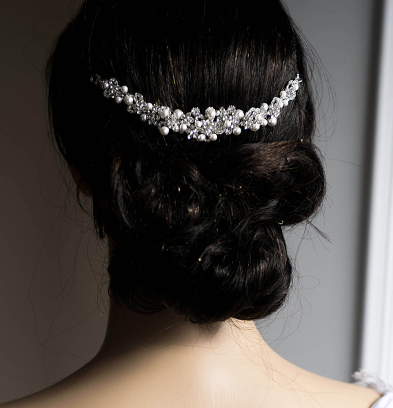 Wedding - Wedding Hair Chain Bridal Hair Gold Silver Plated Chain Swarovski Pearls CZ crystal Hair Wrap Headpiece Halo Hair Piece, Hair Comb Vine