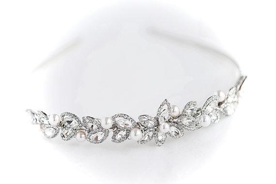 Hochzeit - Wedding Hair Bridal Hair Band Hairband swarovski pearls CZcrystal Hair Headpiece Wedding Crystal Hair Piece, Wedding Bridal Hair Accessories