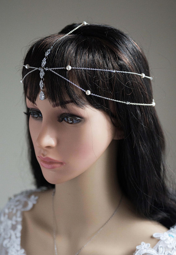 1920s Hair Jewelry Unique Wedding Headpiece Accessories Swarovski Crystal Rhinestone Halo Art Deco Hairpiece