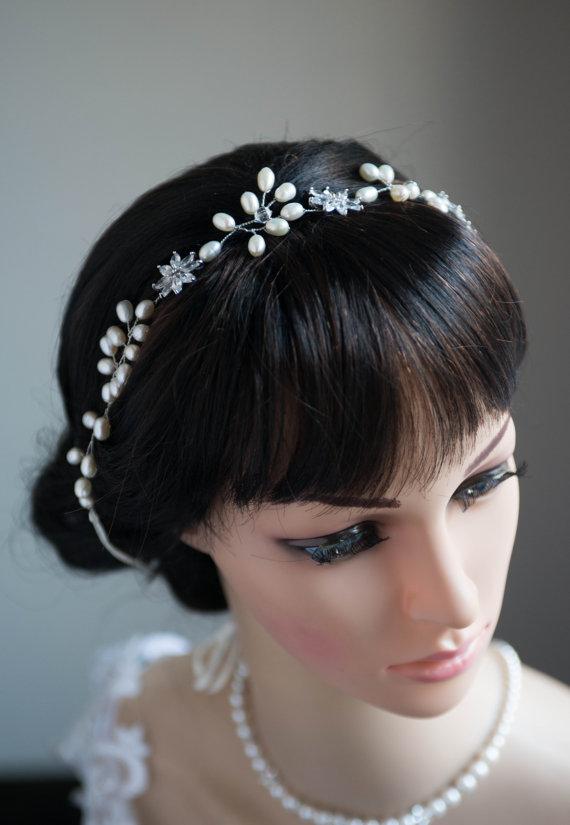 Wedding - Bridal statement wedding Head Band, Vintage Style Freshwater Pearls Rhinstone Bridal Headpiece statement wedding Headpiece