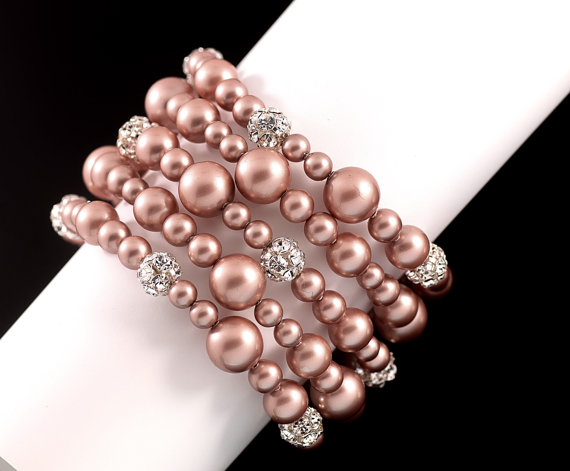 Mariage - 5 strands Wedding Bracelet, swarovski Pearl Bridal Bridal Bracelet, Rhinestone silver ball Bracelet Modern Vintage Style Bridal Jewelry