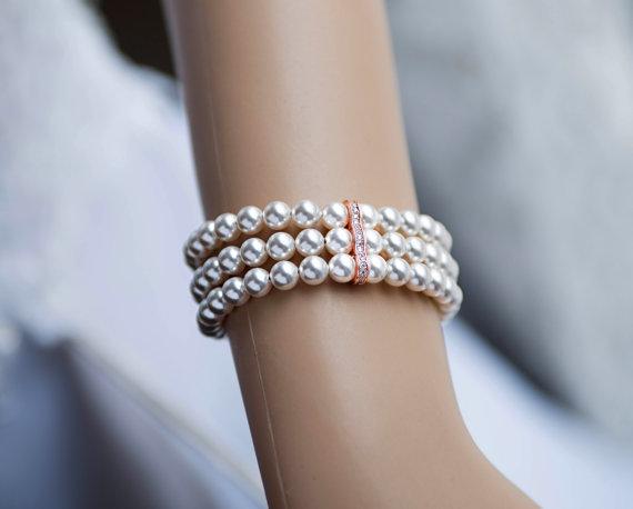 Wedding - SET! Wedding set! Bridal Swarovski Pearl Bracelet&Earrings SET 3 strands swarovski pearl rose gold Vintage Style wedding Bracelet